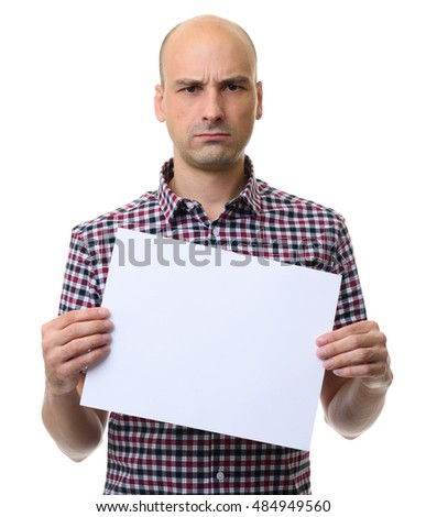 Angry man showing a blank banner. Isolated on white background