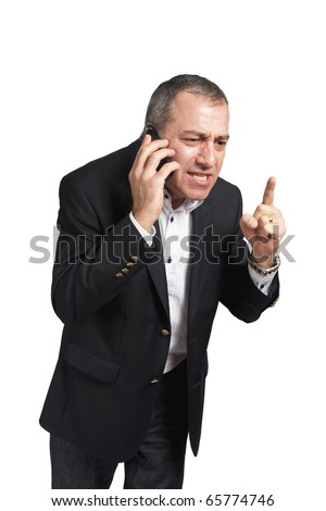 Angry man talking with the phone