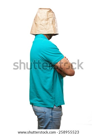 angry man with a paper bag in his head