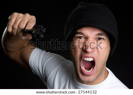 Angry Man with Gun - stock photo
