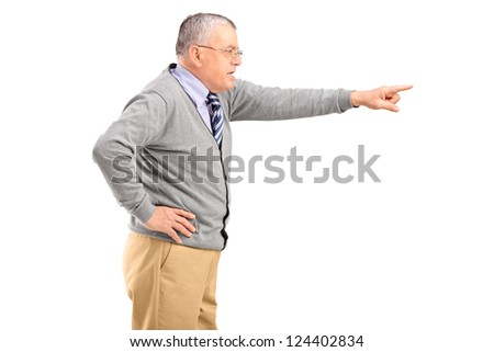 Angry mature man pointing with finger isolated on white background - stock photo