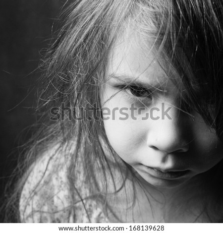 Angry offended girl - stock photo