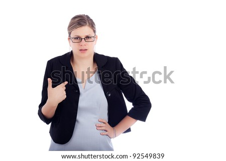 Angry offended young business woman, isolated on white background. - stock photo