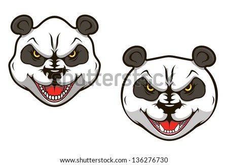 Angry panda bear head for sports mascot design. Vector version also available in gallery - stock photo