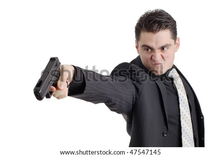 Angry person with a gun isolated on white background