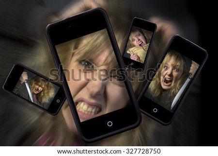Angry phone calls and texts - Internet troll - (Smartphone is anonymous and could be any make)  - stock photo