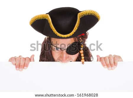 Angry Pirate Holding Blank Placard In Mouth On White Background - stock photo