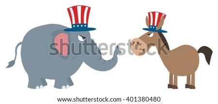 Angry Political Elephant Republican Vs Donkey Democrat. Raster Illustration Flat Design Style Isolated On White - stock photo