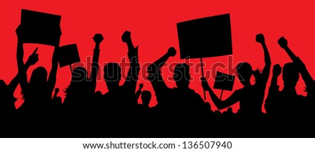 Angry protesters - stock photo