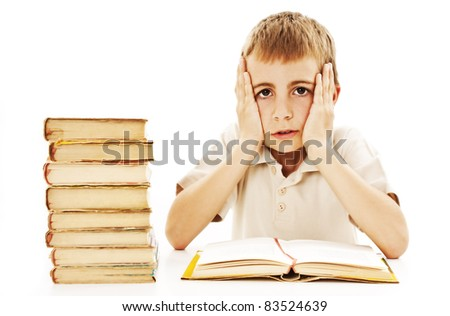 Angry schoolboy with learning difficulties. All on white background. - stock photo