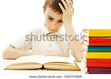 Angry schoolboy with learning difficulties. Isolated on a white background - stock photo