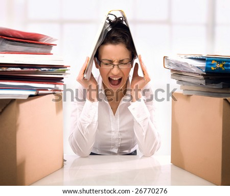 Angry secretary - stock photo