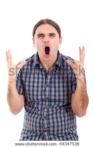 Angry shocked man screaming, isolated on white background. - stock photo