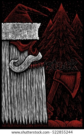 Angry Skull Santa Claus with ax on background of a winter forest at night with snow and falling comet. greeting card new year 2017 gothic funny illustration