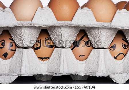 Angry, Smiley, Confident and Sad Expression style with egg characters  - stock photo