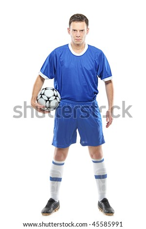 Angry soccer player with a ball isolated against white background