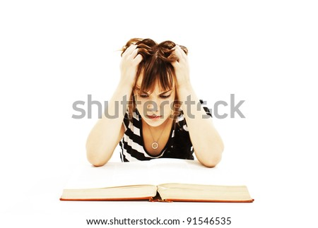 Angry student girl with learning difficulties. Isolated on white background - stock photo