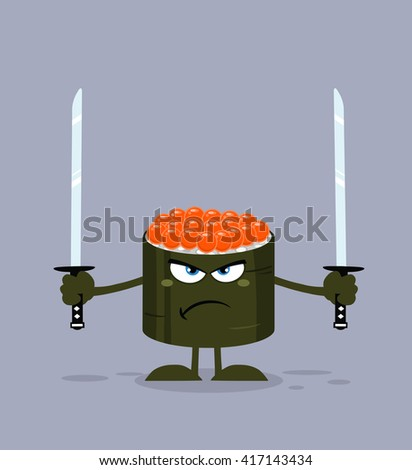 Angry Sushi Roll Cartoon Mascot Character Ready To Fight With Two Katana Swords. Raster Illustration Flat Style With Background - stock photo