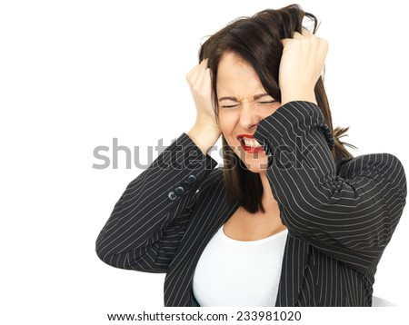 Angry Upset Young Business Woman Pulling Hair - stock photo