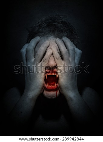 Angry vampire screaming. Retro stale. - stock photo