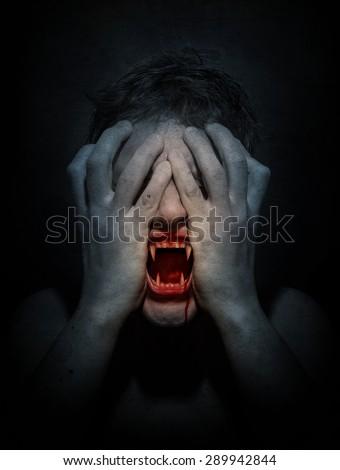Angry vampire screaming. Retro stale. - stock photo