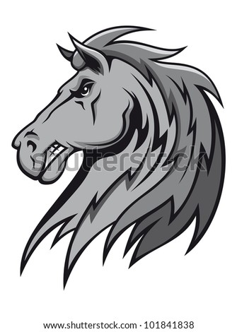 Angry wild stallion in cartoon design for mascot or equestrian sports design. Vector version also available in gallery - stock photo