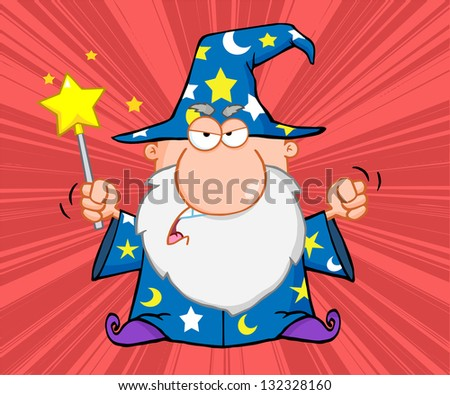Angry Wizard With Magic Wand. Raster Illustration.Vector Version Also Available In Portfolio. - stock photo