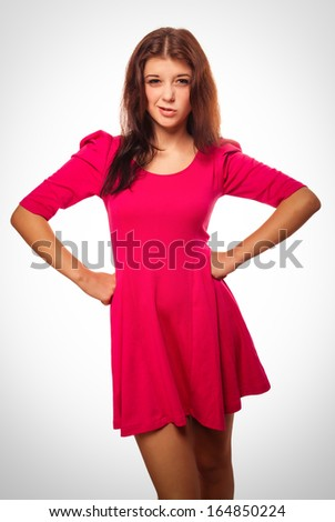 angry woman brunette girl does not understand thinking frowns emotions - stock photo