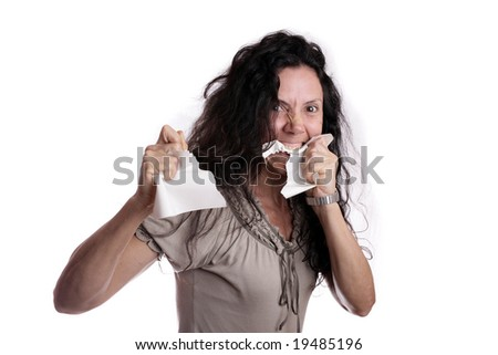Angry woman eating paper isolated in white