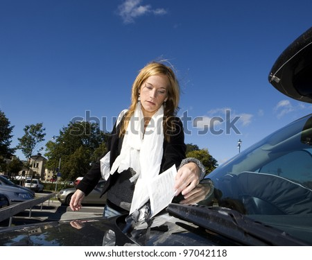 Angry woman getting a Parking Ticket