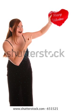 Angry woman in an evening gown flipping off her Valentine