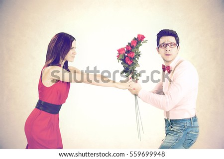angry woman refuses roses for Valentine's Day