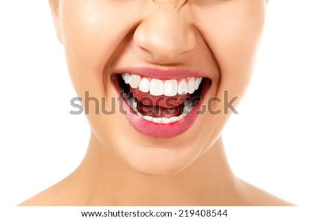 Angry woman, white background, isolated  - stock photo