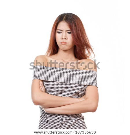 angry woman with unhappy and negative emotion on white isolated background - stock photo