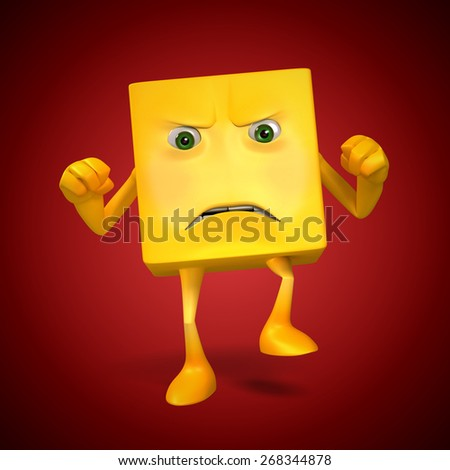Angry Yellow Box Character - stock photo
