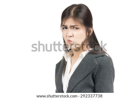 Angry young business asian woman with blank copyspace area for text,frustrated,screaming,Portrait of beautiful Asian woman,Thai girl,Negative human emotion  expression,isolated on white background - stock photo