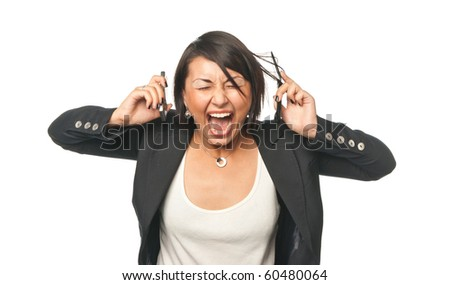 Angry young businesswoman screaming at two mobile phones - stock photo