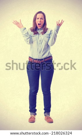 angry young girl shouting. isolated - stock photo