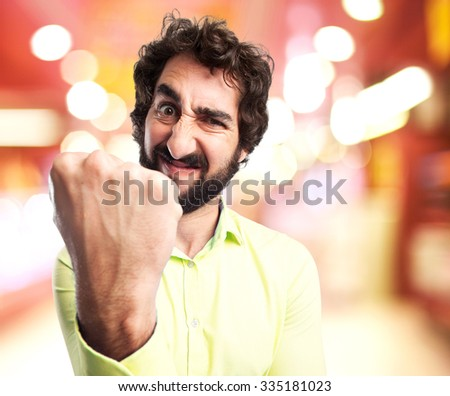 angry young man celebrating pose