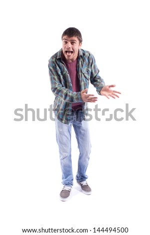 Angry young man isolated on white - stock photo