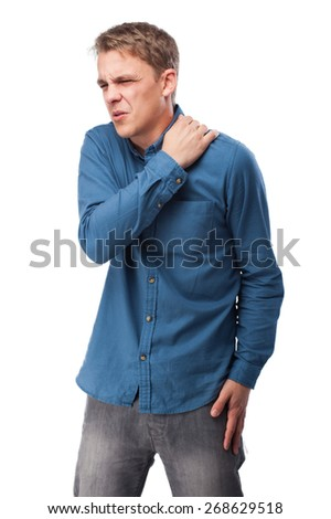 angry young-man suffering a backache - stock photo