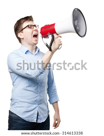 angry young man with megaphone