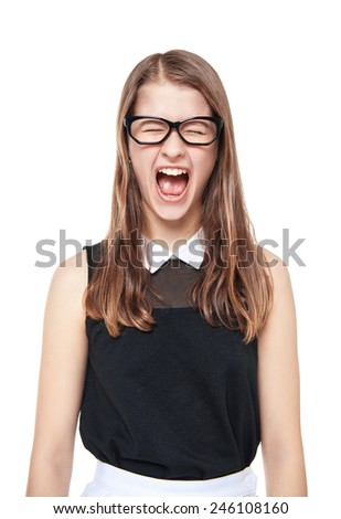Angry young teenage girl screaming isolated  - stock photo