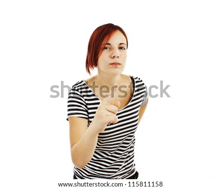 Angry young woman scolds. Isolated on white background.