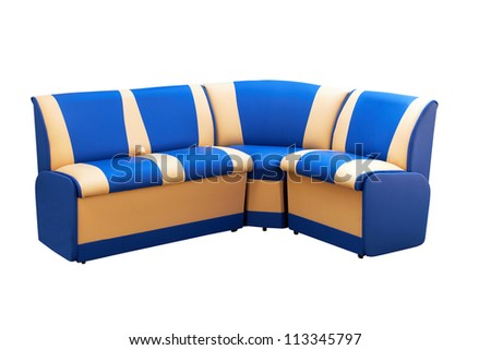 angular leather sofa isolated on a white