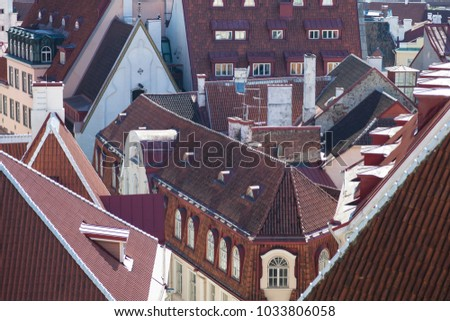 Angular tiled roofs. View of the old Tallinn from the observation deck