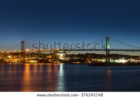 Angus L. Macdonald Bridge that connects Halifax to Dartmouth (Nova Scotia, Canada)