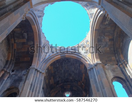 ANI, TURKEY- FEBRUARY 18, 2017: Ruins of an Armenian cathedral , dating from the 10th cc. in the ruins of the medieval Armenian city