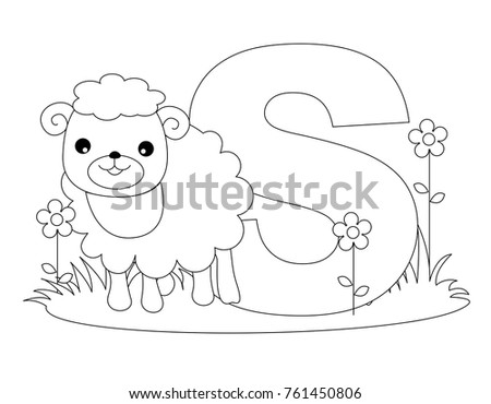 Animal Alphabet Coloring Book Illustration Outlined Stock ...