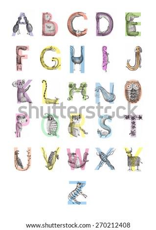 Animal alphabet poster hand drawn - stock photo
